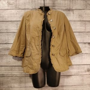 Jackets & Blazers - Tan 3/4 Sleeve Jacket 1x